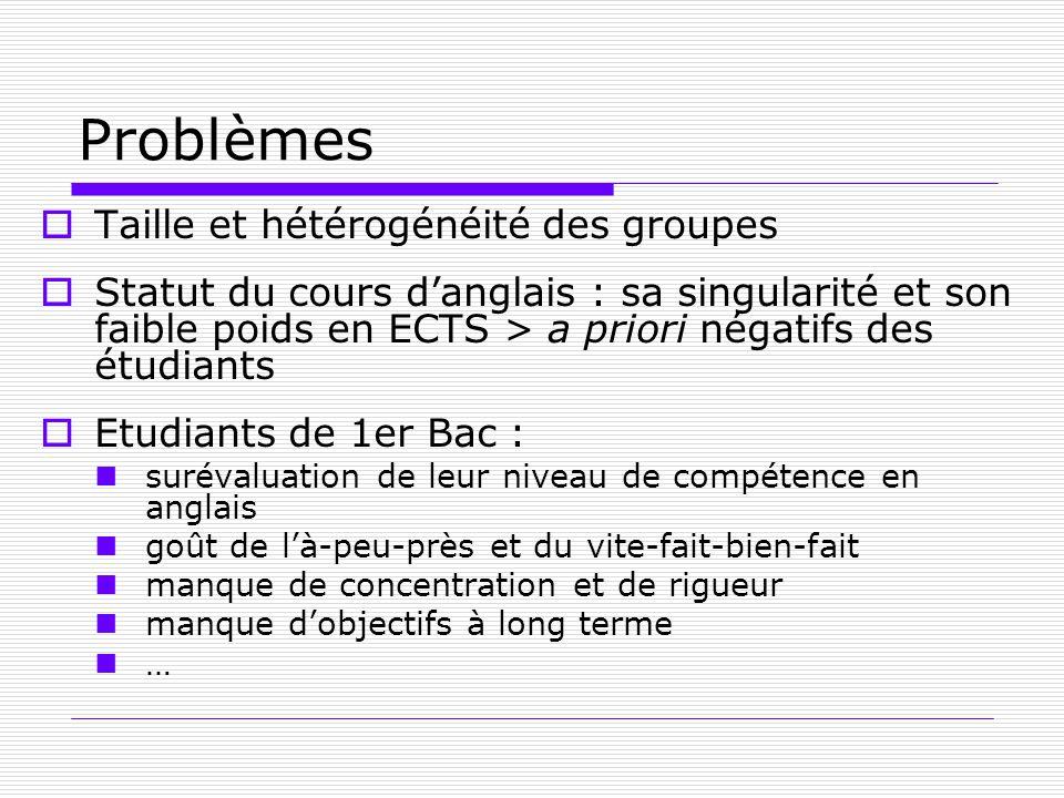 Problèmes Taille et hétérogénéité des groupes