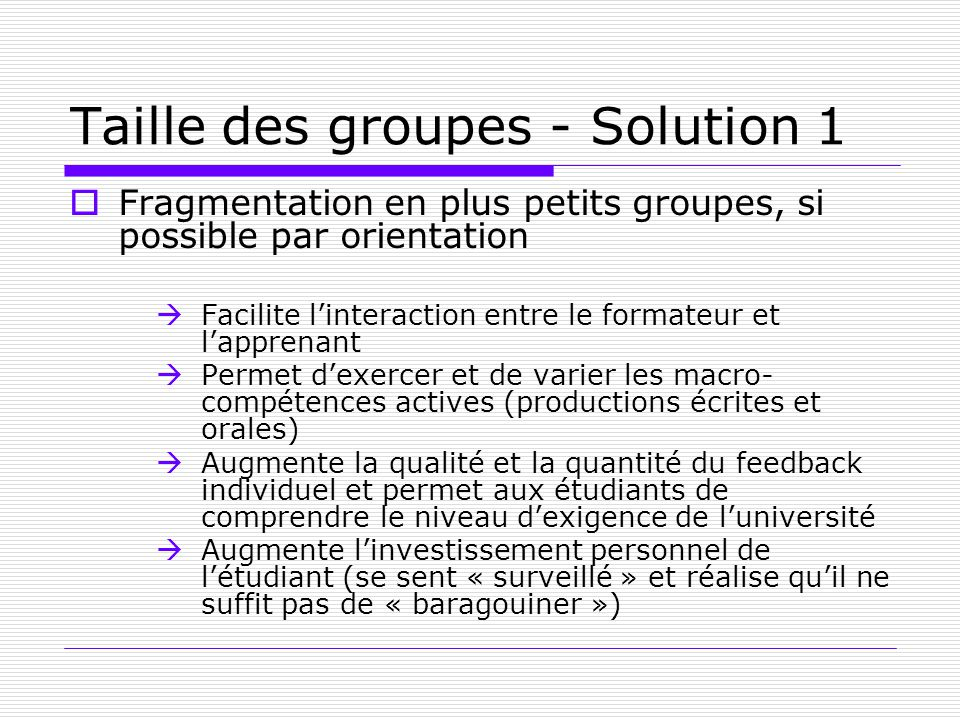 Taille des groupes - Solution 1