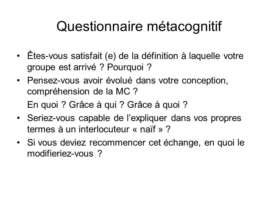Questionnaire métacognitif