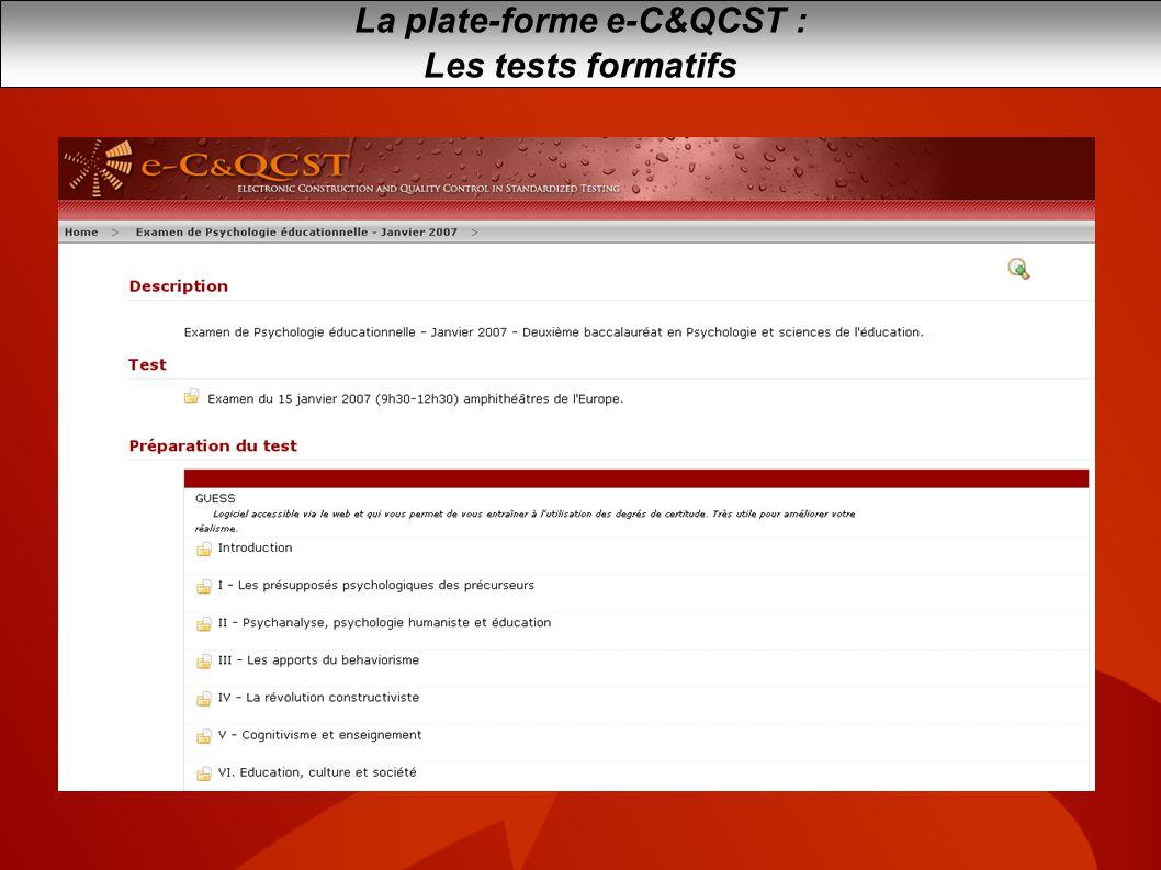 La plate-forme e-C&QCST :