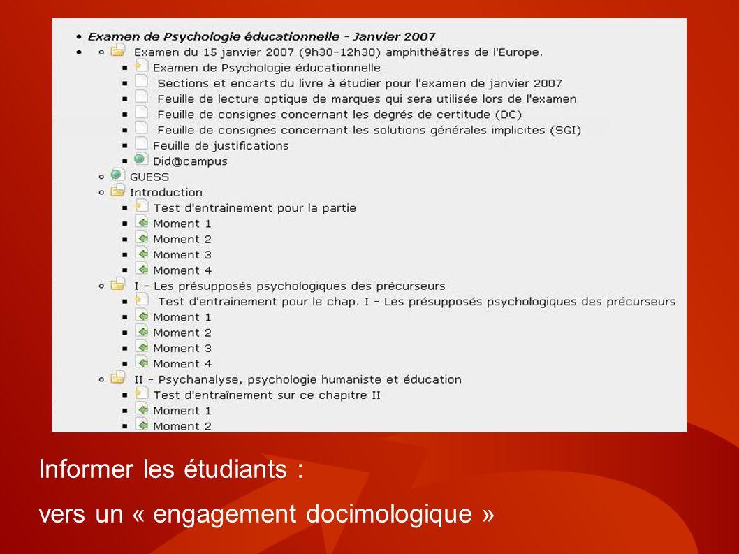 Informer les étudiants :