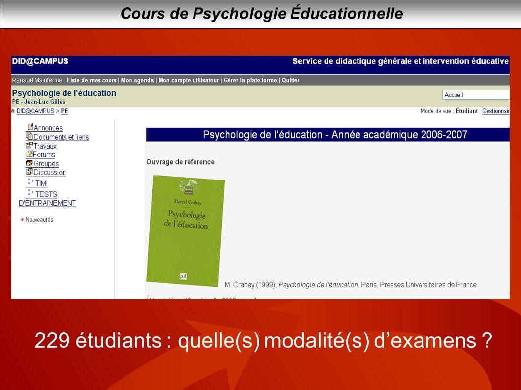 229 étudiants : quelle(s) modalité(s) d'examens
