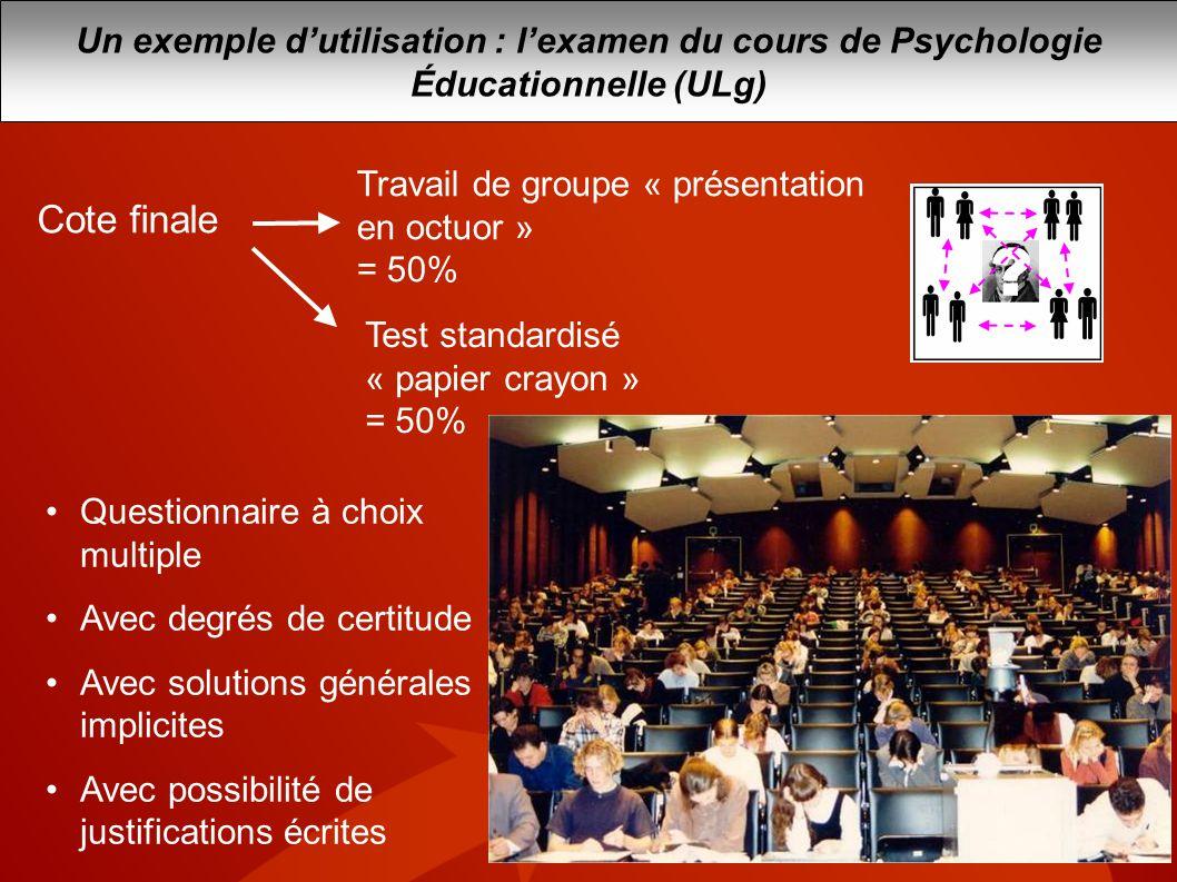 Un exemple d'utilisation : l'examen du cours de Psychologie Éducationnelle (ULg)