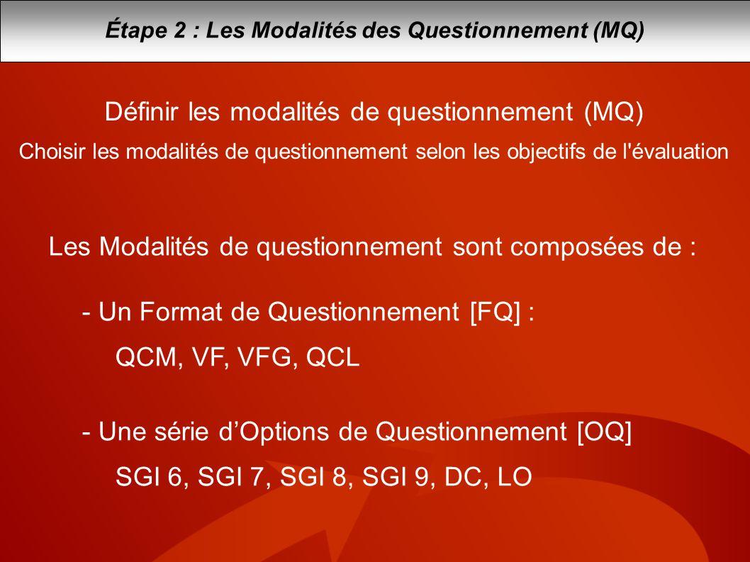 Étape 2 : Les Modalités des Questionnement (MQ)