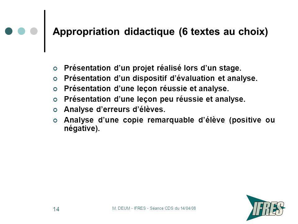 Appropriation didactique (6 textes au choix)