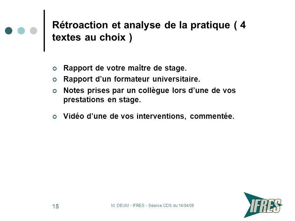 Rétroaction et analyse de la pratique ( 4 textes au choix )