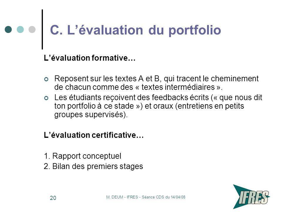 C. L'évaluation du portfolio
