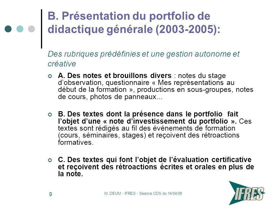 M. DEUM - IFRES - Séance CDS du 14/04/08