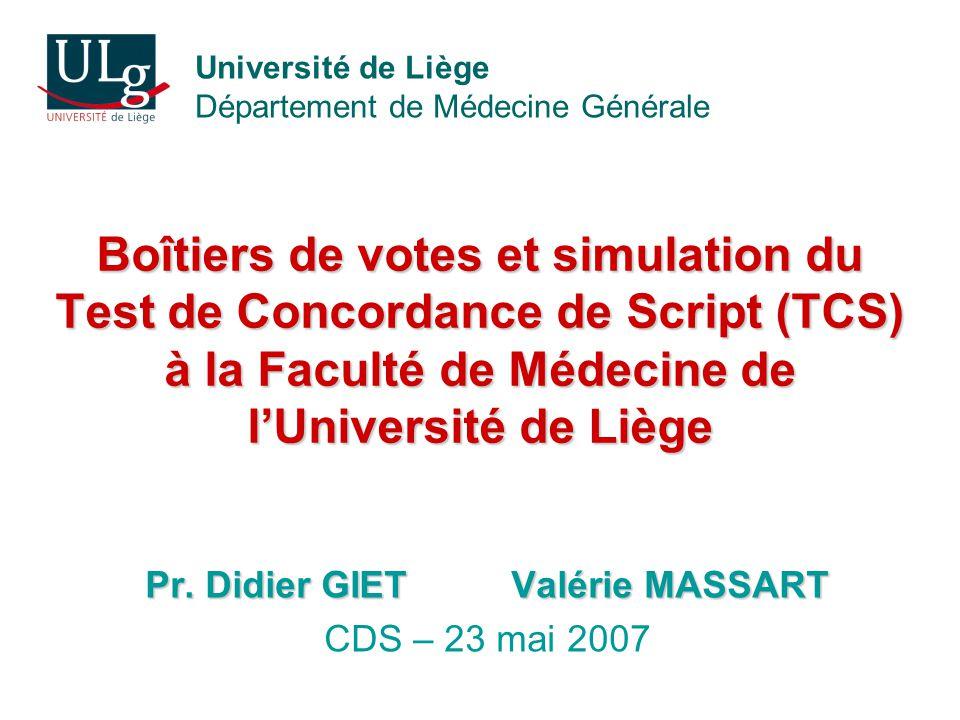 Pr. Didier GIET Valérie MASSART CDS – 23 mai 2007
