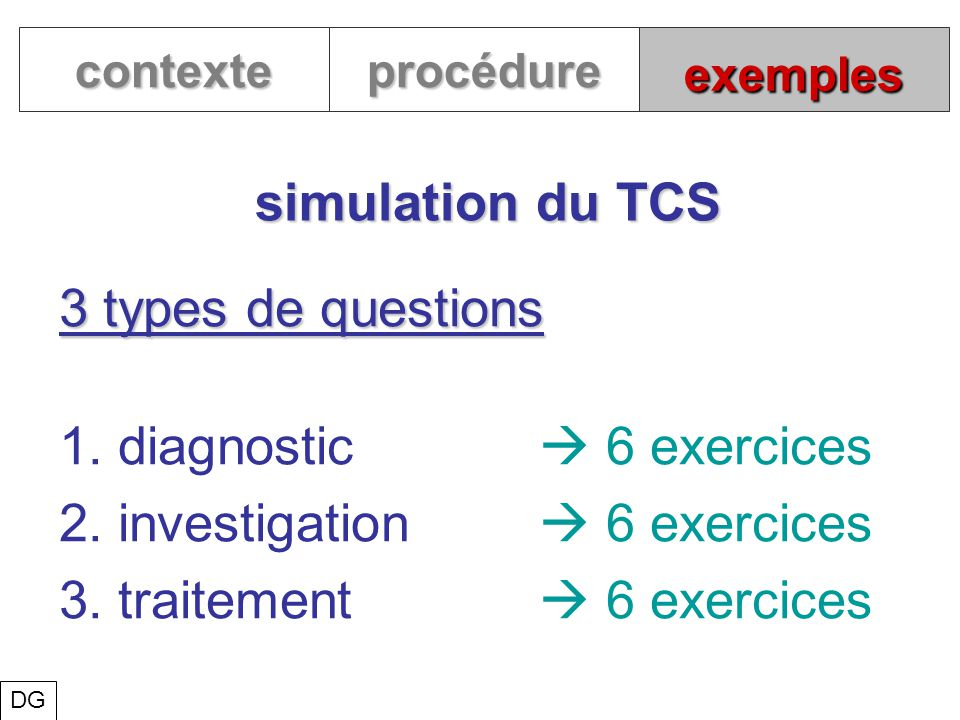 1. diagnostic  6 exercices 2. investigation  6 exercices