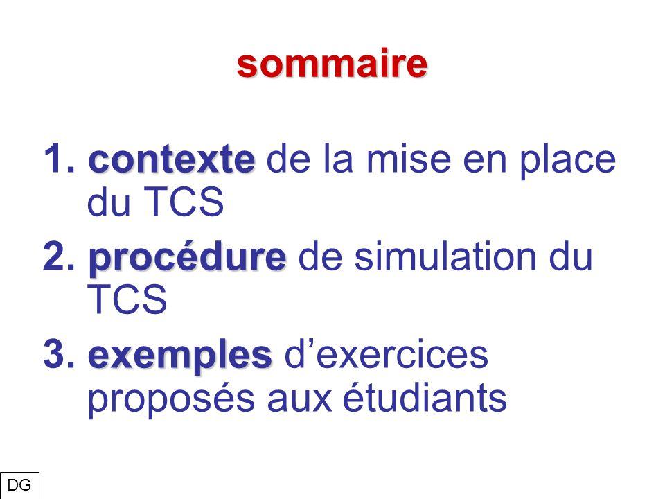 1. contexte de la mise en place du TCS