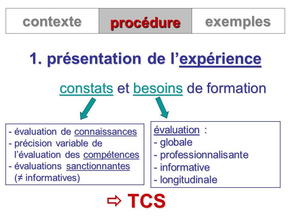 1. présentation de l'expérience
