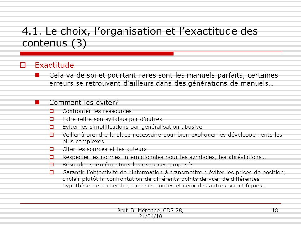 4.1. Le choix, l'organisation et l'exactitude des contenus (3)