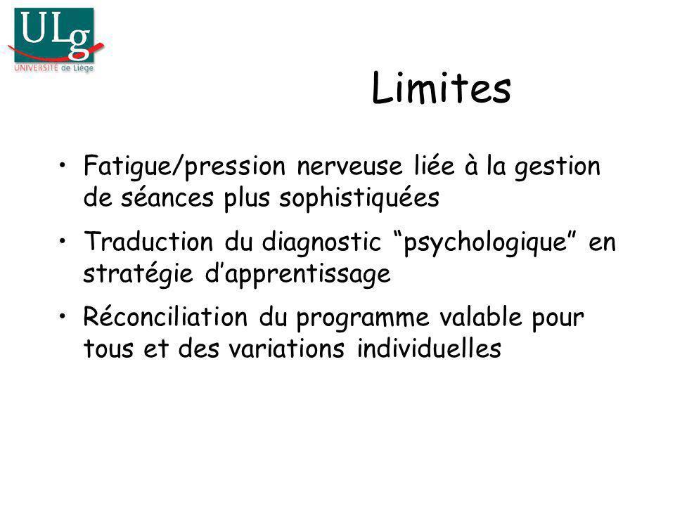 Limites Fatigue/pression nerveuse liée à la gestion de séances plus sophistiquées.
