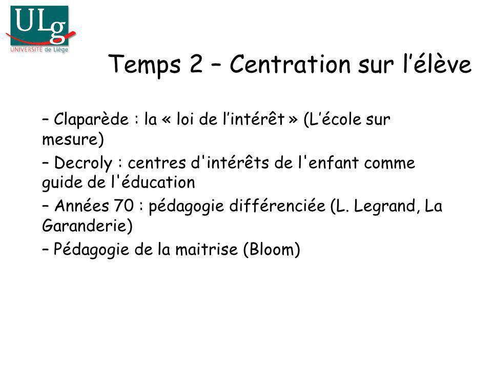 Temps 2 – Centration sur l'élève
