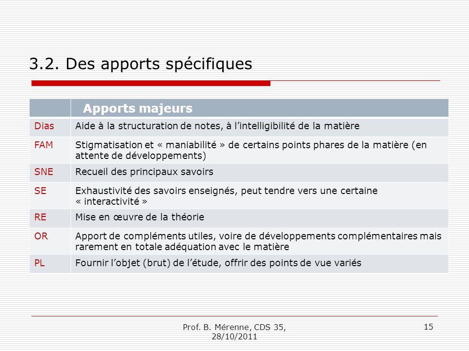 3.2. Des apports spécifiques