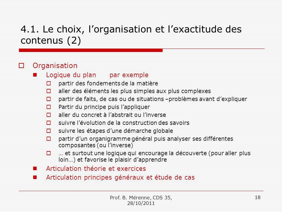 4.1. Le choix, l'organisation et l'exactitude des contenus (2)