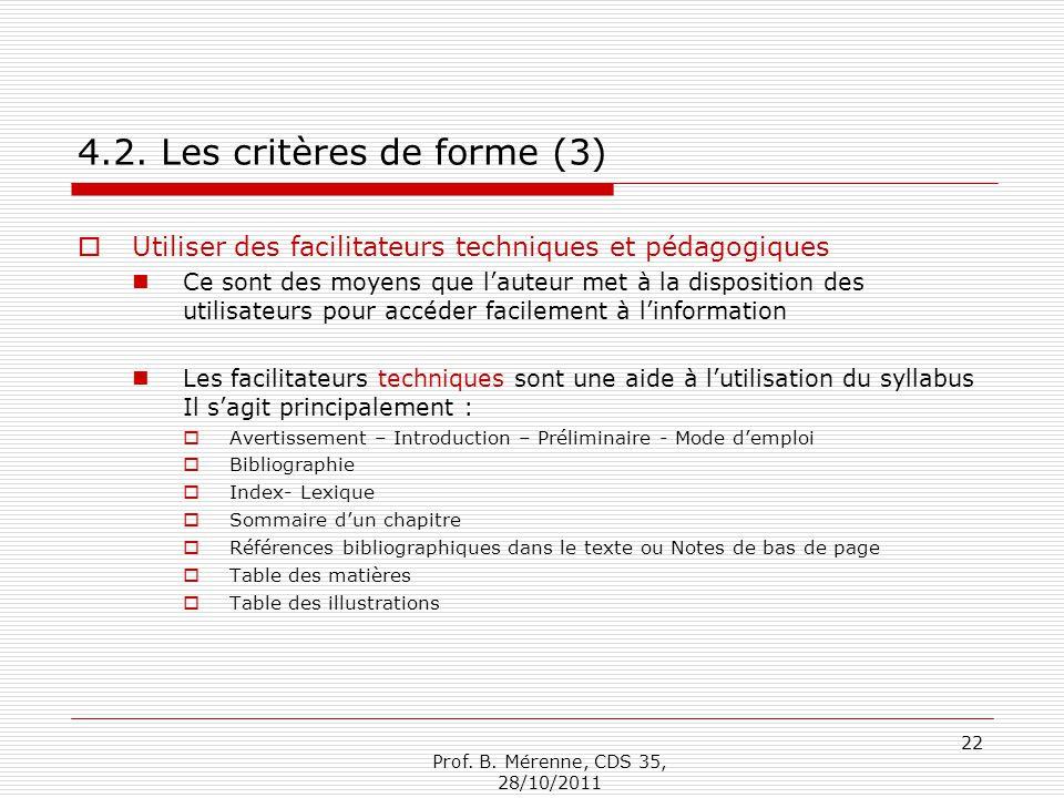 4.2. Les critères de forme (3)