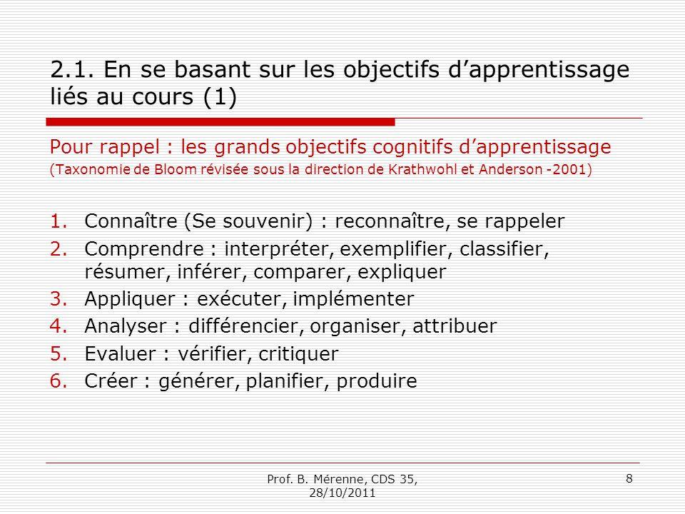2.1. En se basant sur les objectifs d'apprentissage liés au cours (1)