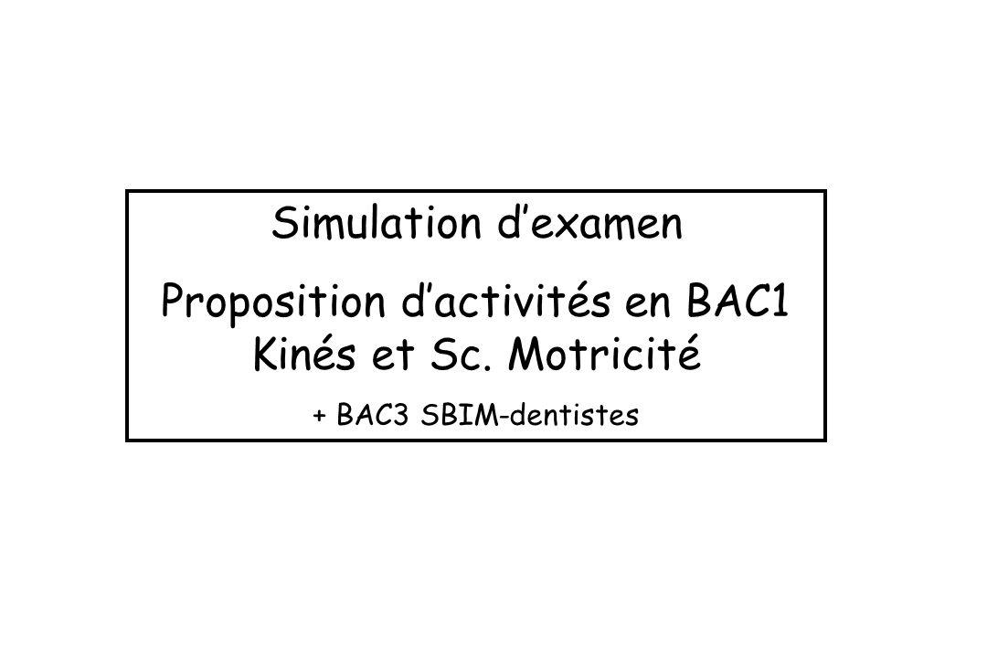 Proposition d'activités en BAC1 Kinés et Sc. Motricité