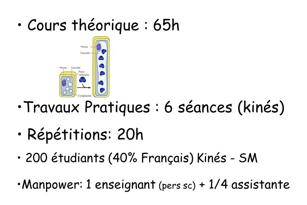 Travaux Pratiques : 6 séances (kinés) Répétitions: 20h