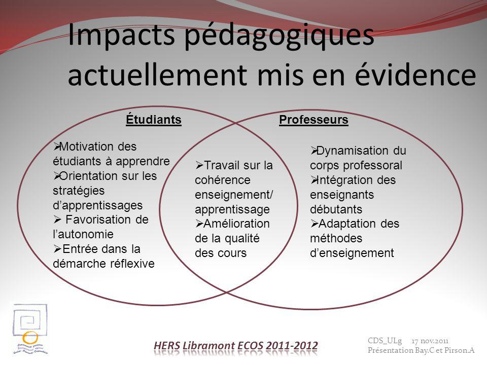 Impacts pédagogiques actuellement mis en évidence