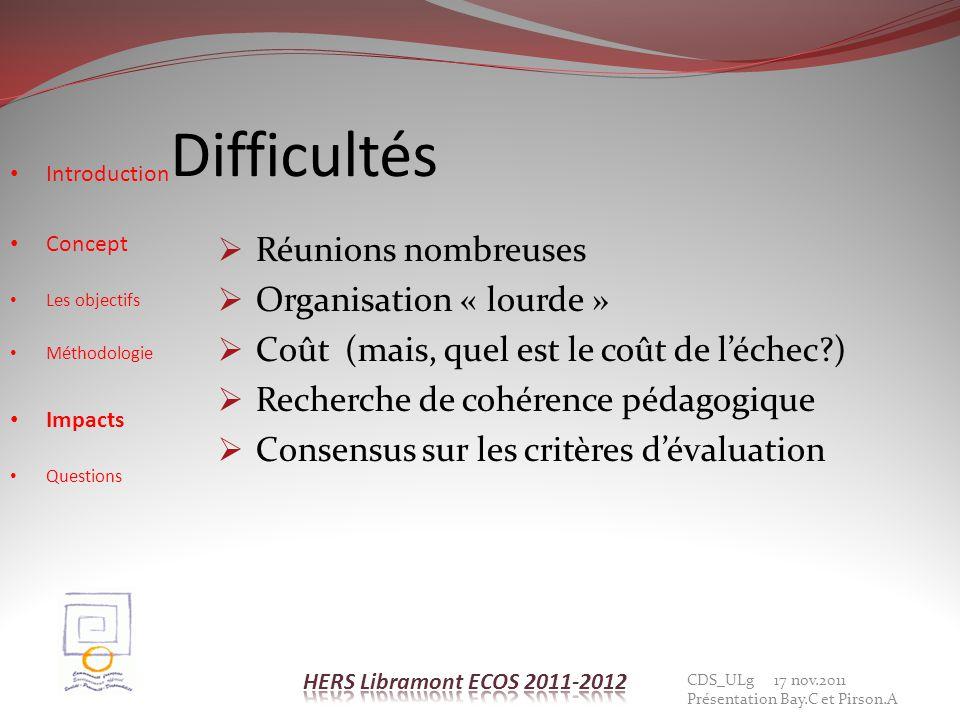 Difficultés Réunions nombreuses Organisation « lourde »