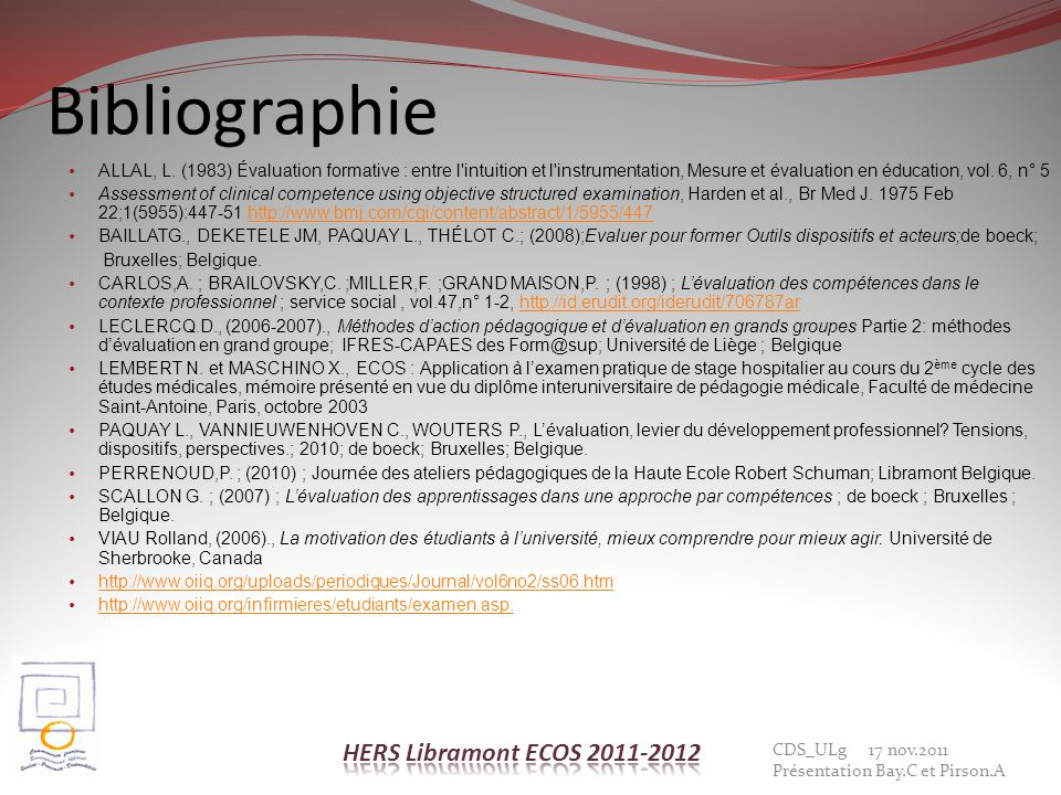 Bibliographie HERS Libramont ECOS 2011-2012