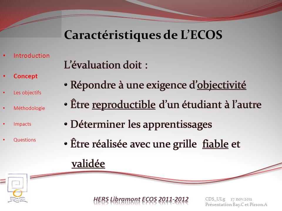 Caractéristiques de L'ECOS