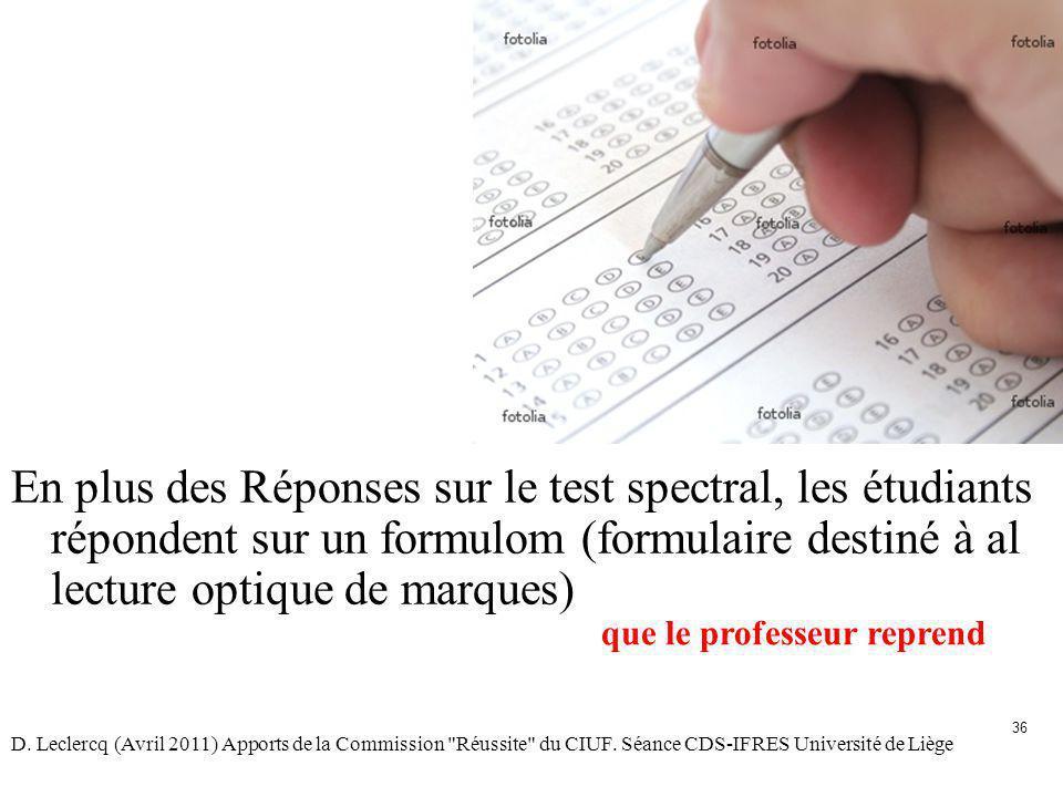 En plus des Réponses sur le test spectral, les étudiants répondent sur un formulom (formulaire destiné à al lecture optique de marques)