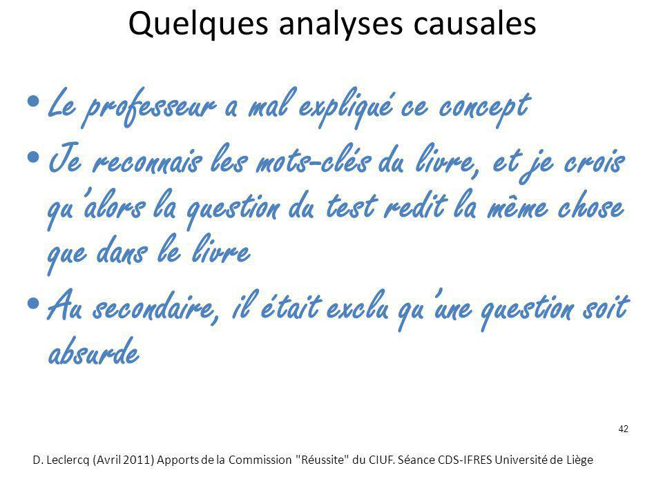 Quelques analyses causales