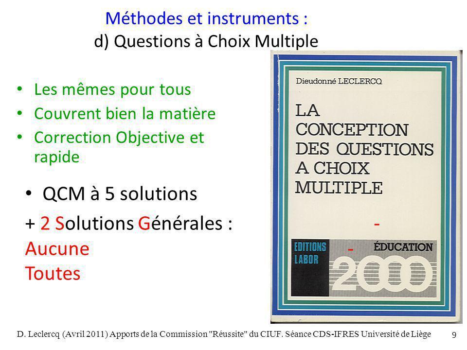 Méthodes et instruments : d) Questions à Choix Multiple
