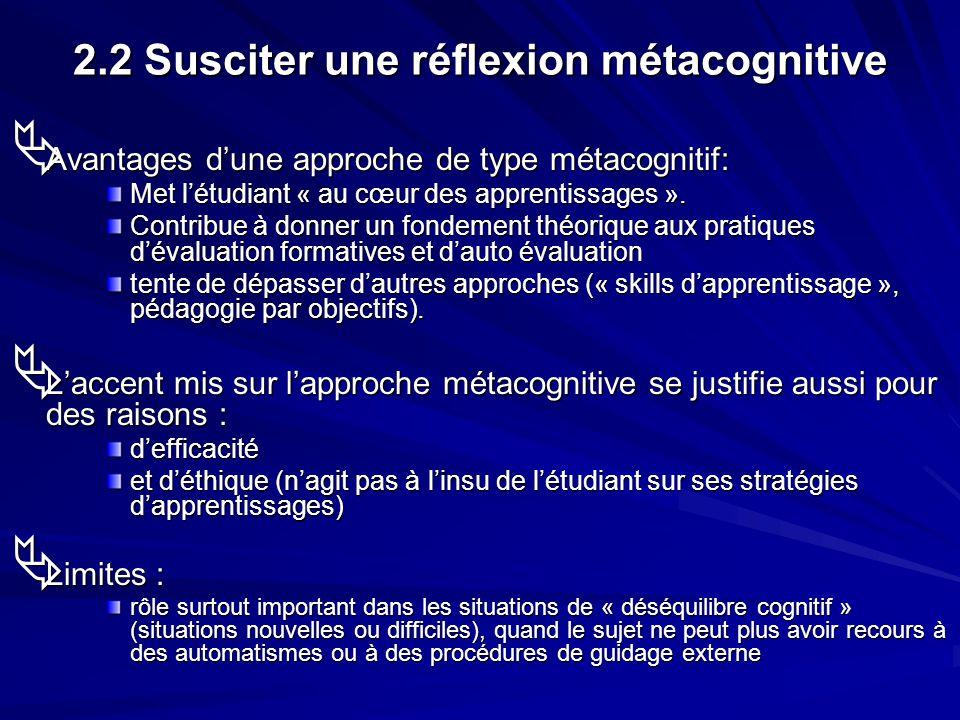2.2 Susciter une réflexion métacognitive