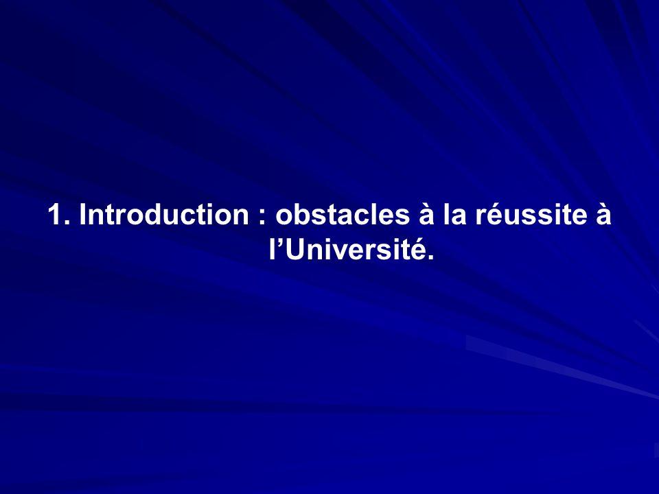 1. Introduction : obstacles à la réussite à l'Université.