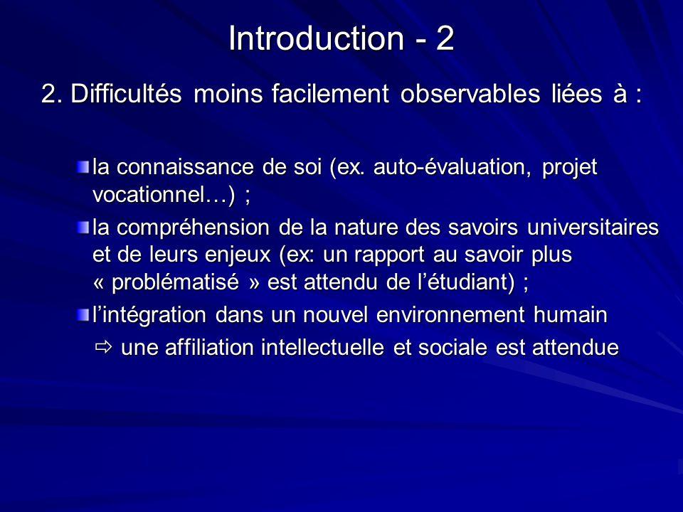 Introduction - 2 2. Difficultés moins facilement observables liées à :