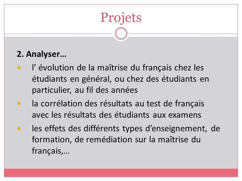 Projets 2. Analyser… l' évolution de la maîtrise du français chez les étudiants en général, ou chez des étudiants en particulier, au fil des années.