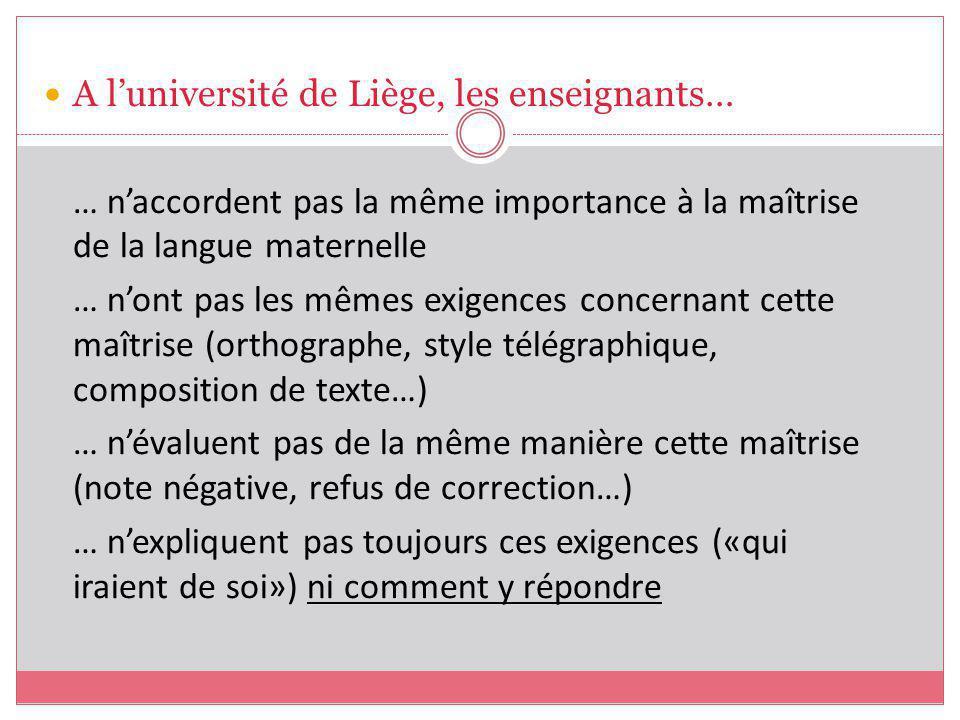 A l'université de Liège, les enseignants…
