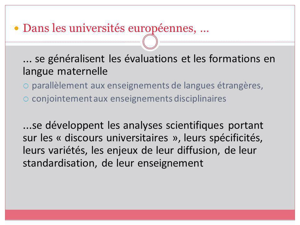 Dans les universités européennes, …
