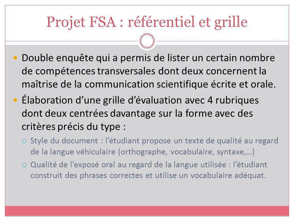 Projet FSA : référentiel et grille
