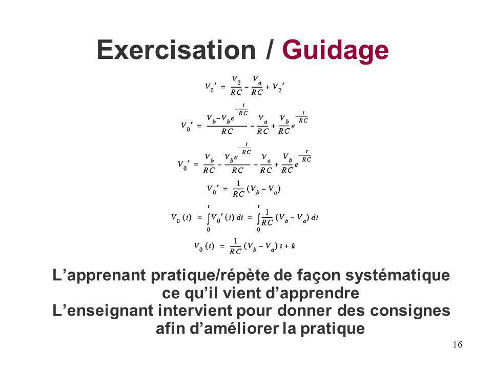 Exercisation / Guidage