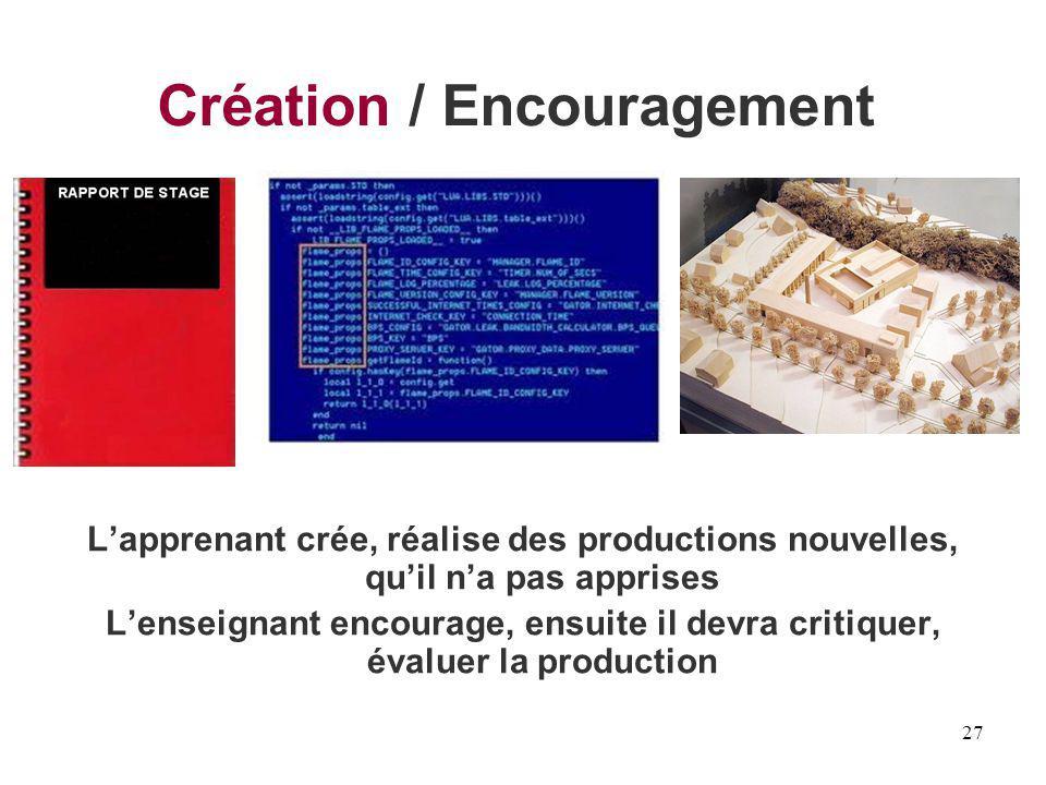 Création / Encouragement