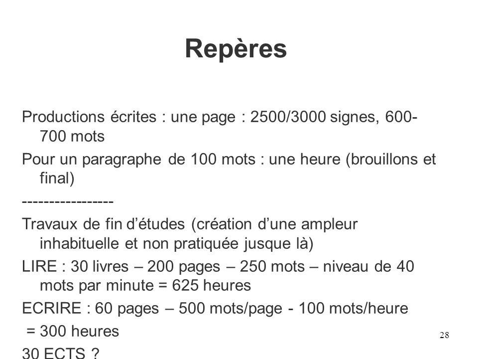 Repères Productions écrites : une page : 2500/3000 signes, 600-700 mots. Pour un paragraphe de 100 mots : une heure (brouillons et final)