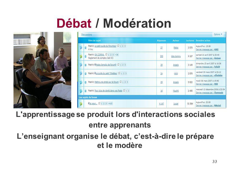 L'enseignant organise le débat, c'est-à-dire le prépare et le modère