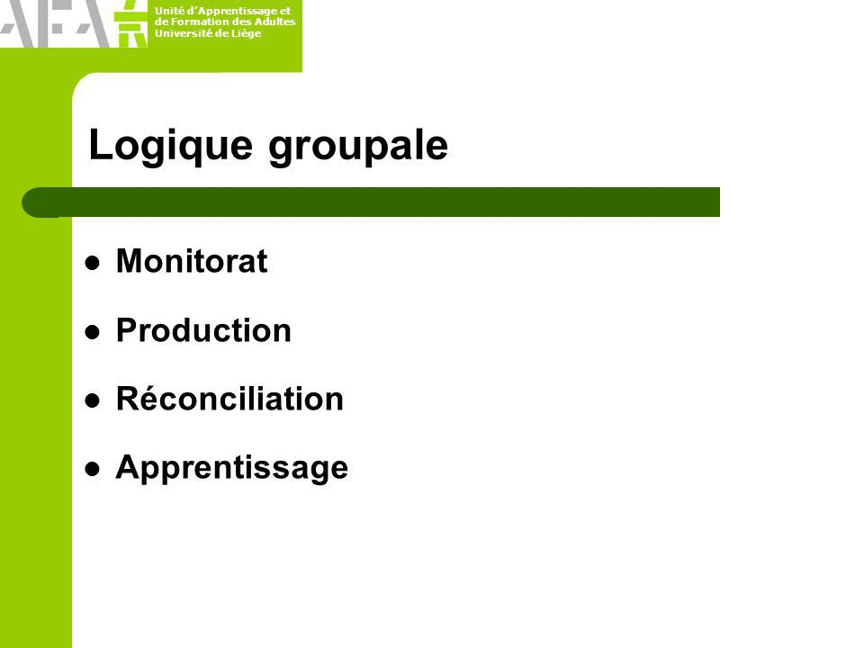 Logique groupale Monitorat Production Réconciliation Apprentissage