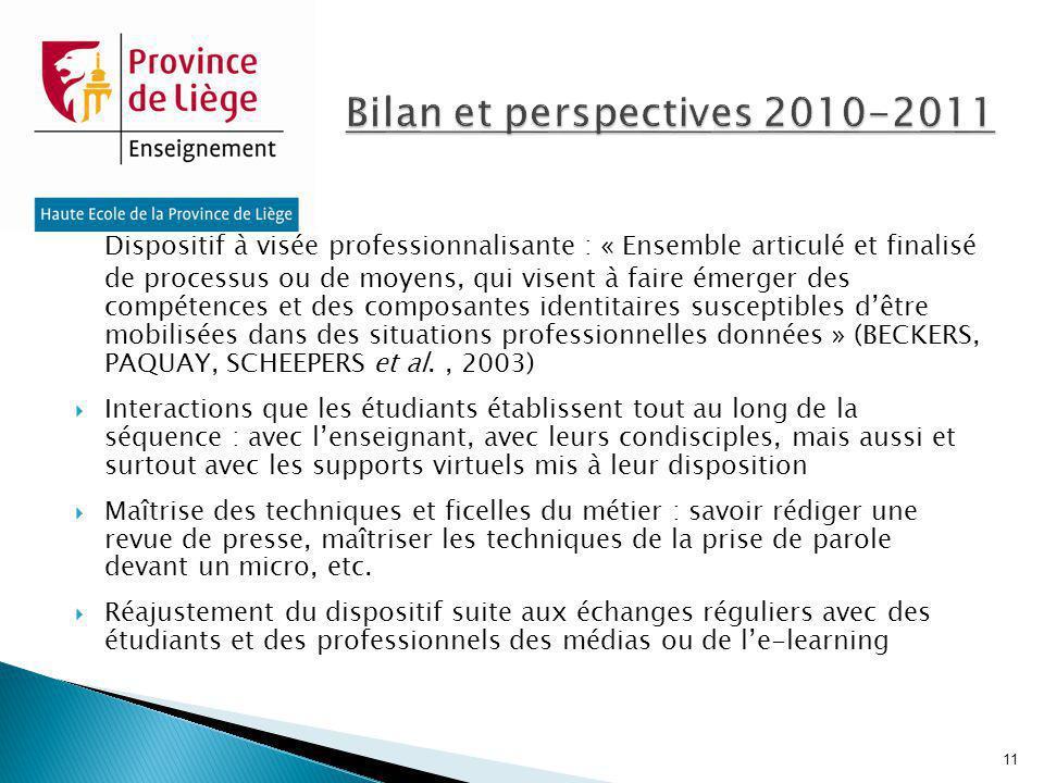 Bilan et perspectives 2010-2011