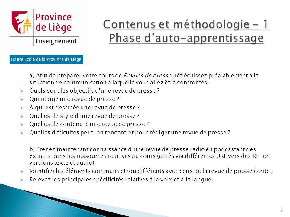 Contenus et méthodologie - 1 Phase d'auto-apprentissage