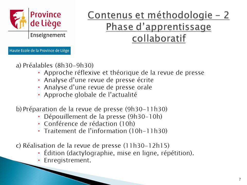 Contenus et méthodologie - 2 Phase d'apprentissage collaboratif