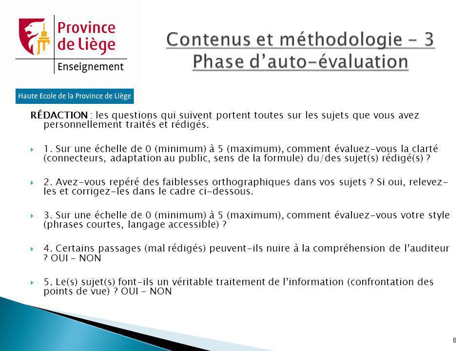 Contenus et méthodologie - 3 Phase d'auto-évaluation