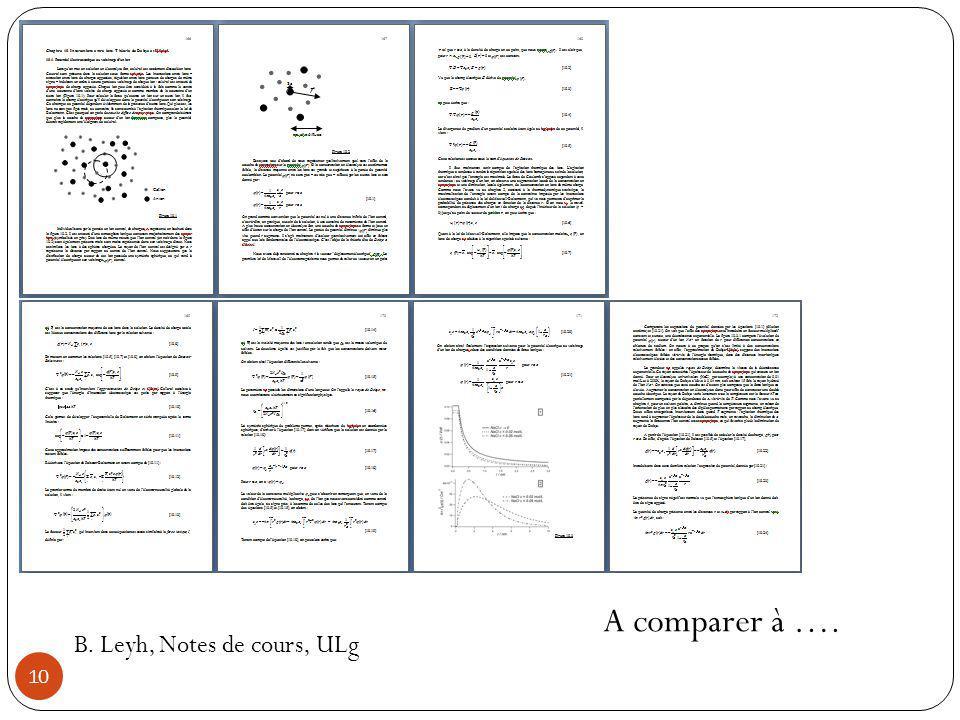 A comparer à …. B. Leyh, Notes de cours, ULg