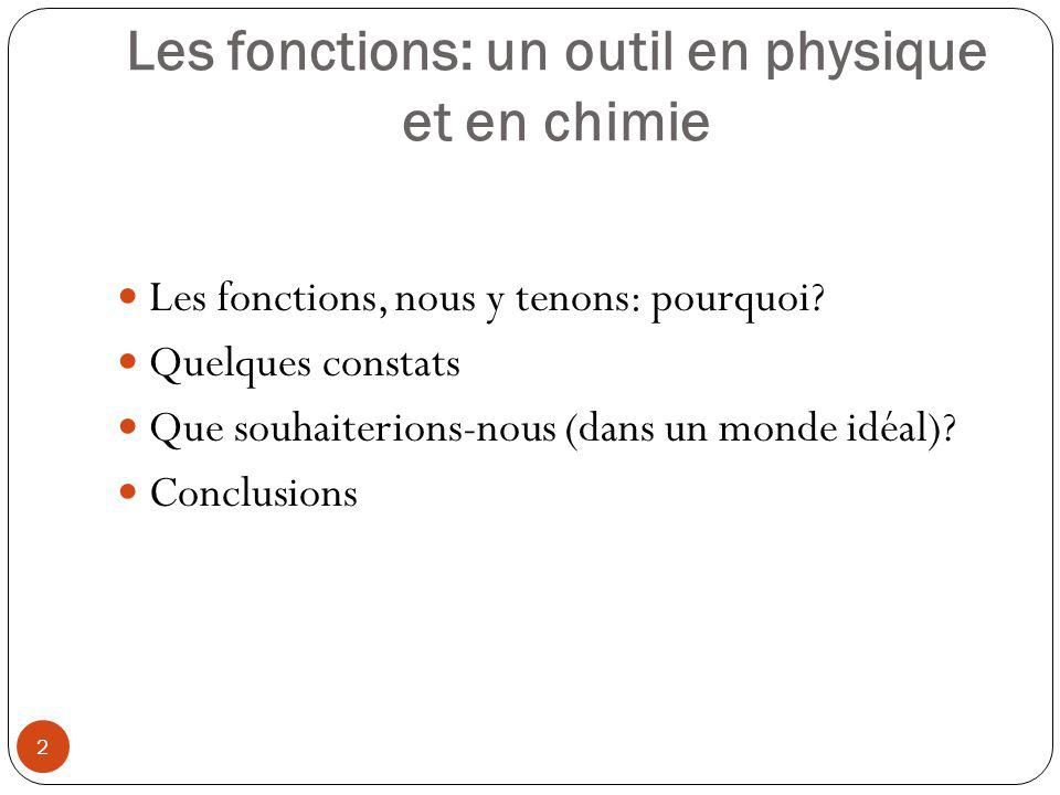 Les fonctions: un outil en physique et en chimie